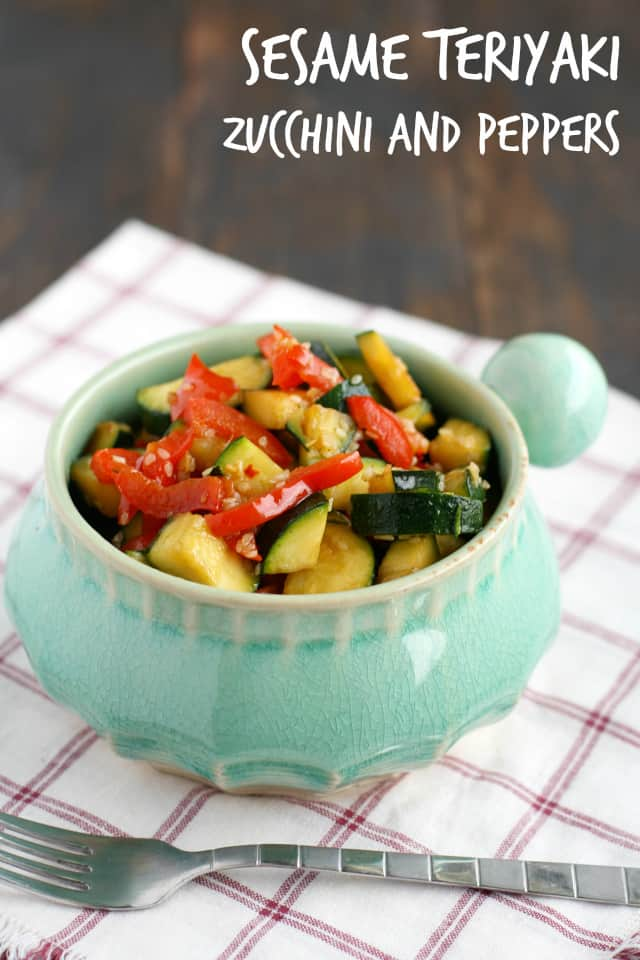 zucchini and peppers with sesame teriyaki sauce
