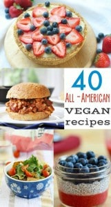 40 Delicious All-American and Patriotic VEGAN recipes! Get ready for the 4th of July with these amazing burgers, sides, and desserts! #vegan