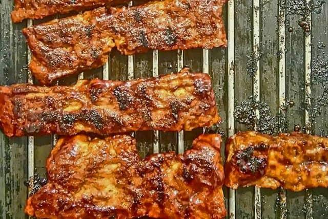 seitan barbecue ribs on a grill