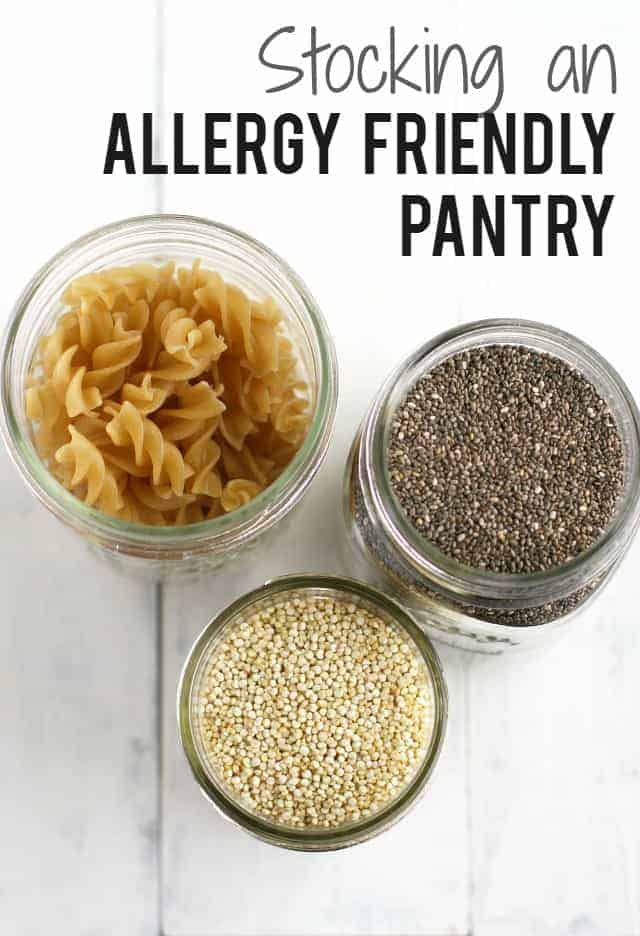 How to stock an allergy free pantry. Lots of great information for those who are new to eating gluten free, dairy free, nut free, top 8 free, etc.