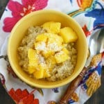 Creamy coconut mango breakfast quinoa is a great way to start the day. A nice alternative to oatmeal, with lots of fiber and protein. #quinoa #glutenfree