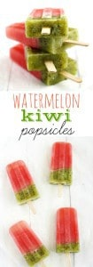 Easy and delicious watermelon kiwi popsicle recipe. These fun and colorful treats are a big hit on hot summer days! #popsicle