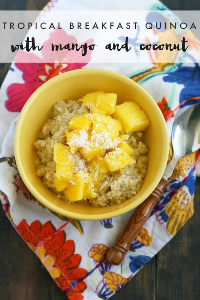 Fast, filling, and flavorful tropical breakfast quinoa. A sweet breakfast cereal that has lots of fiber and protein. #quinoa #healthy #light