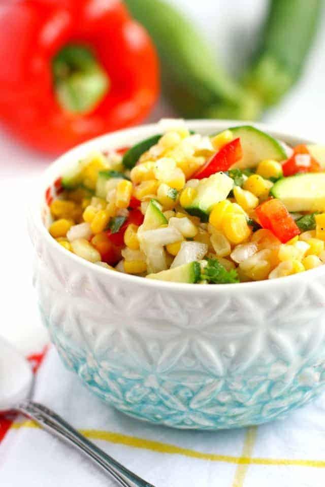 picnic corn salad in light blue bowl