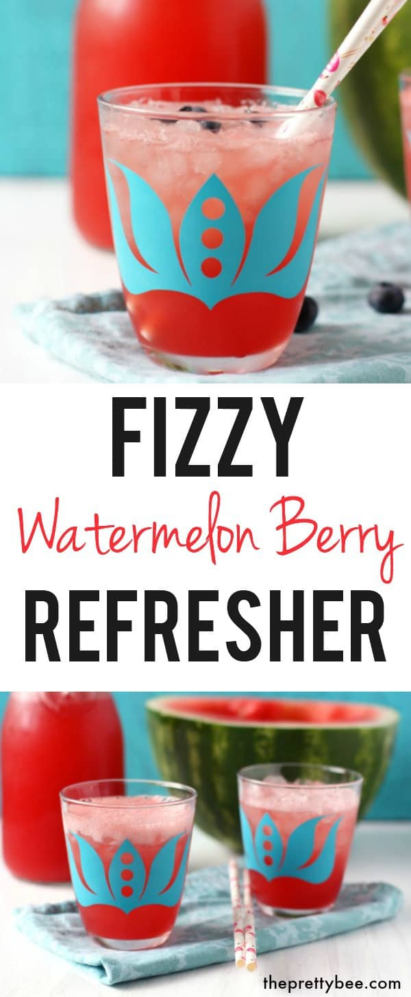 A delicious way to cool off this summer - watermelon berry refresher is a light and fizzy drink that everyone loves! #watermelon #drink #fruit #vegan