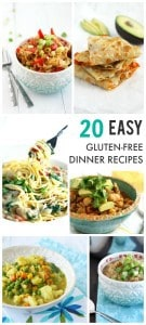 20 Easy Gluten Free Dinner Recipes from theprettybee.com #dinner #glutenfree #recipe