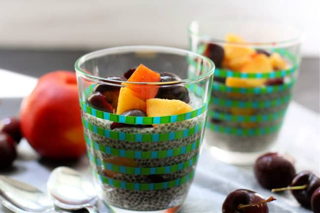 chia pudding with fresh fruit in a cup