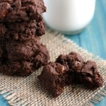 chocolate fudge cookies and a glass of milk