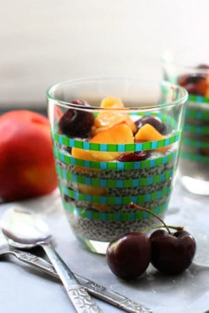 dairy free chia pudding in a glass