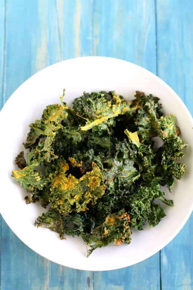 vegan kale chips in bowl