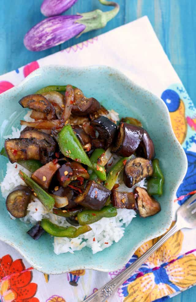 spicy stir fried eggplant