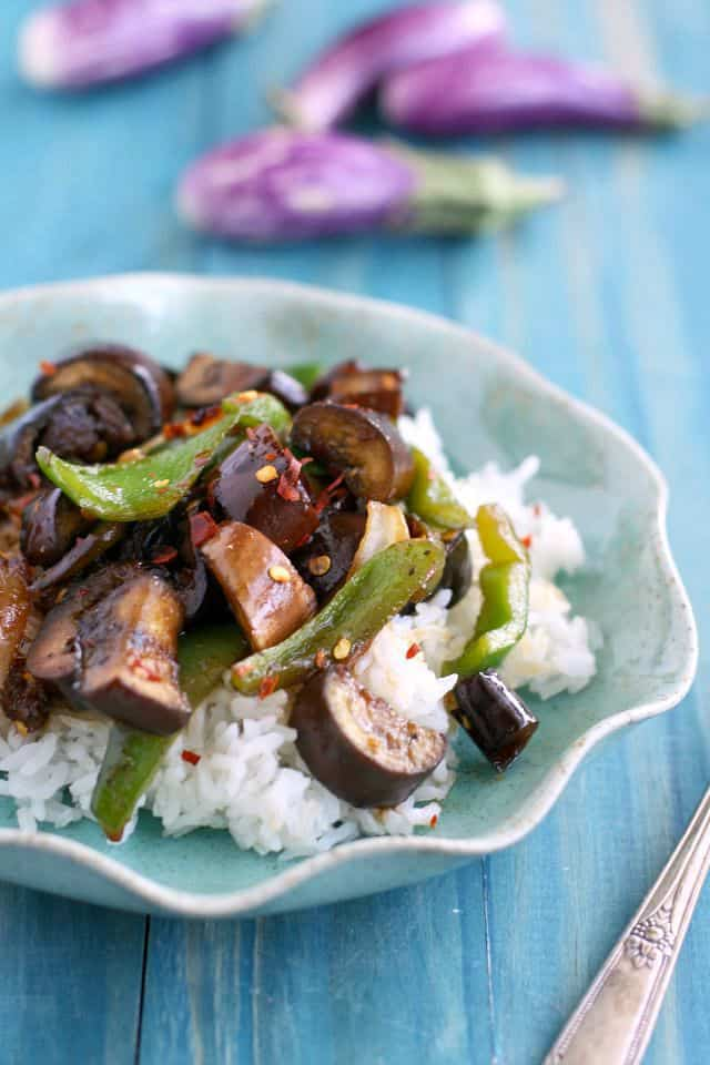 Spicy and tasty stir fried eggplant over rice. #glutenfree