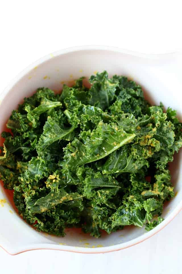 kale in a bowl with oil