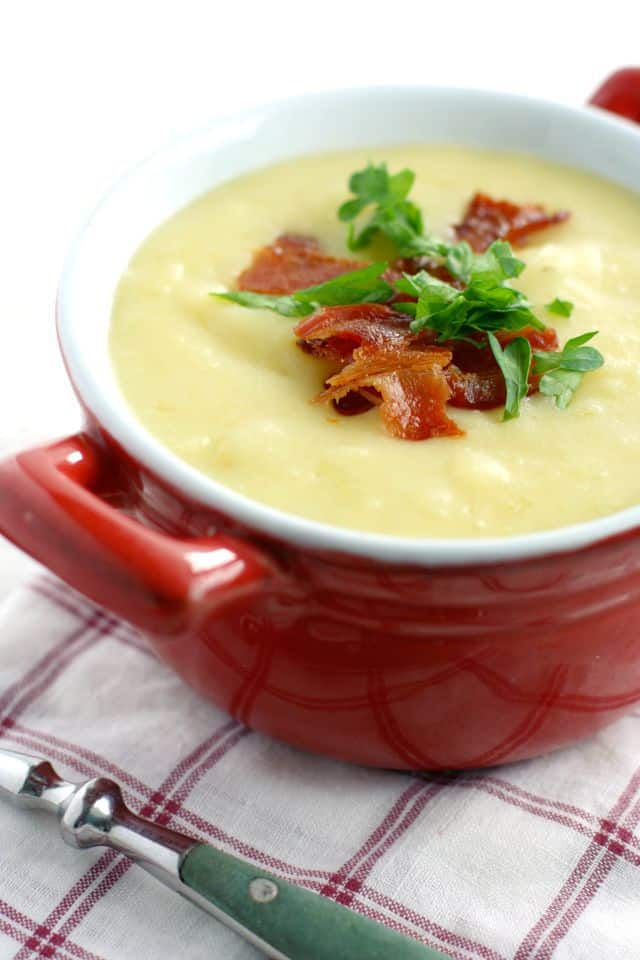 Creamy and comforting potato and leek soup. So tasty and so warming for fall!  Everyone loves this easy recipe.