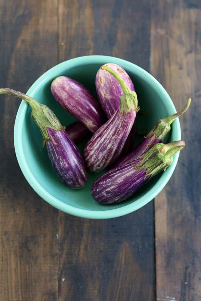 chinese eggplant in bowl