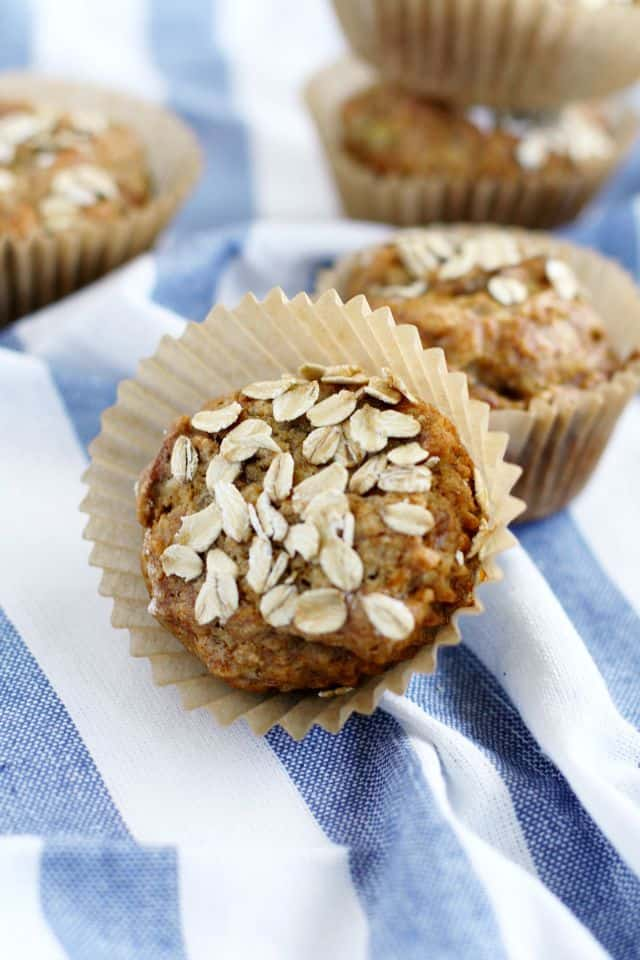 Gluten free and vegan banana oat muffins