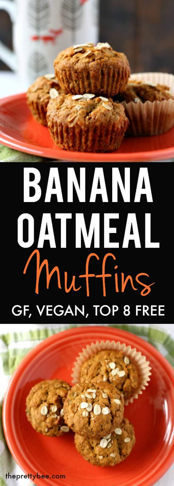 Easy gluten free and vegan banana muffin recipe. A simple, one bowl recipe that's delicious! #vegan #glutenfree #dairyfree #breakfast