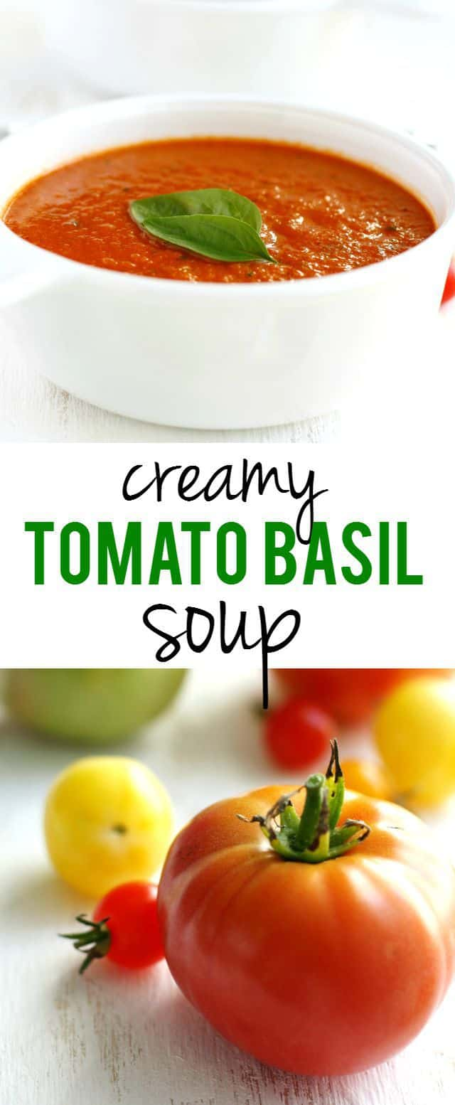 Delicious and easy to make, this creamy tomato basil soup is a great way to use up garden tomatoes!