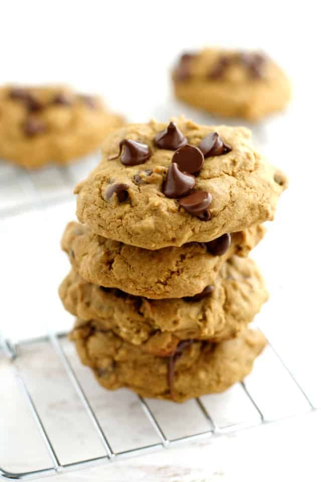 stack of chocolate chip banana cookies