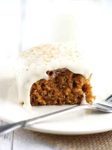 This is the perfect way to use up that extra zucchini! Moist and delicious zucchini cake with a creamy frosting.