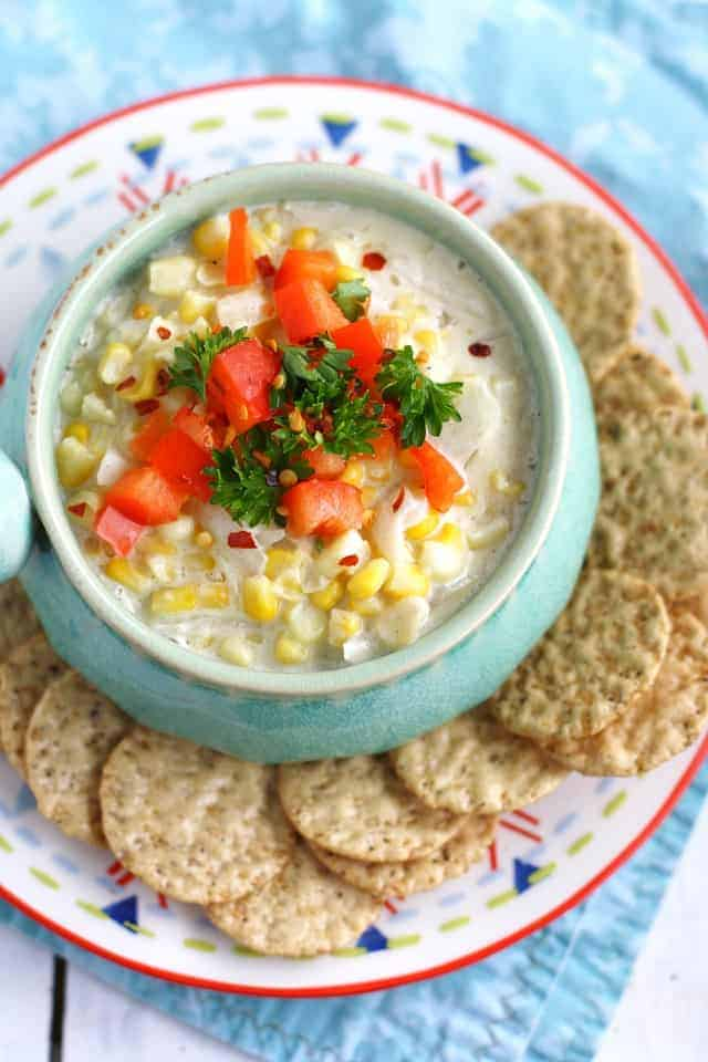 Creamy corn dip - a delicious dip that's perfect for tailgating season! #vegan #ad