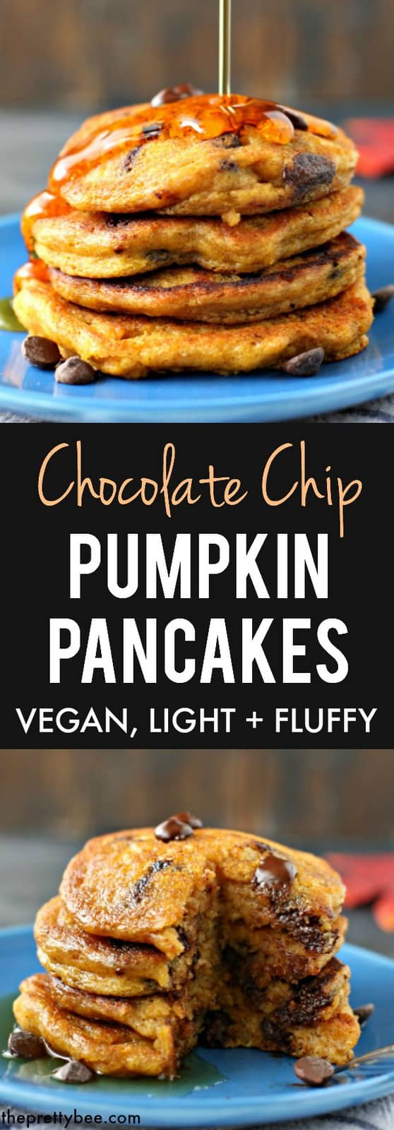 Perfectly light and fluffy vegan pumpkin chocolate chip pancakes are a delicious fall breakfast!