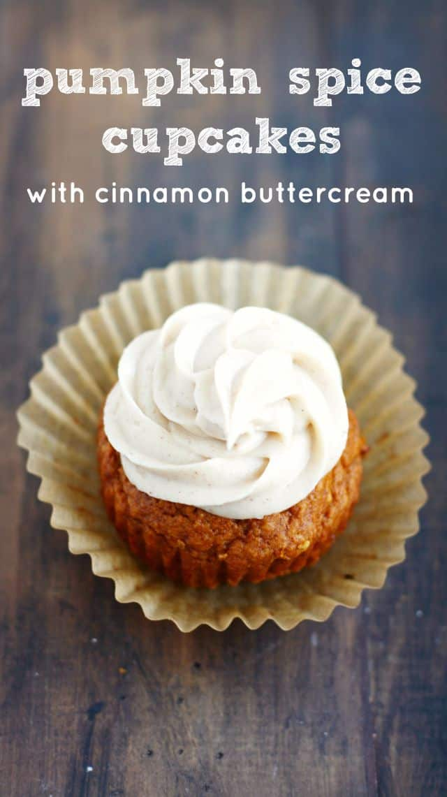 A spiced buttercream tops these perfectly moist pumpkin spice cupcakes. Vegan and gluten free recipe.