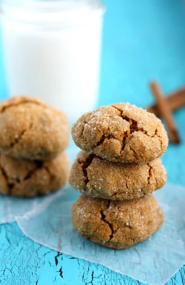 Wonderfully chewy pumpkin spice cookies are rolled in sugar for a little extra sweetness. This is a great cookie for fall!