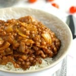 Lentils slow cooked in a rich coconut cream sauce - this simple recipe is perfect for chilly days!