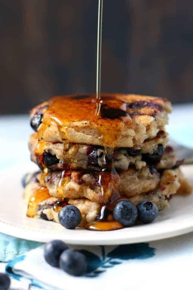 vegan blueberry oatmeal pancakes