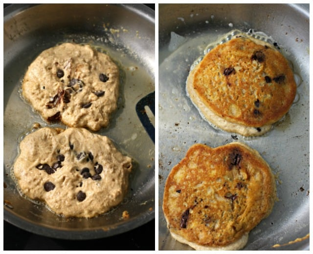 vegan pancakes in frying pan