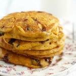 Vegan Pumpkin Chocolate Chip Pancakes.