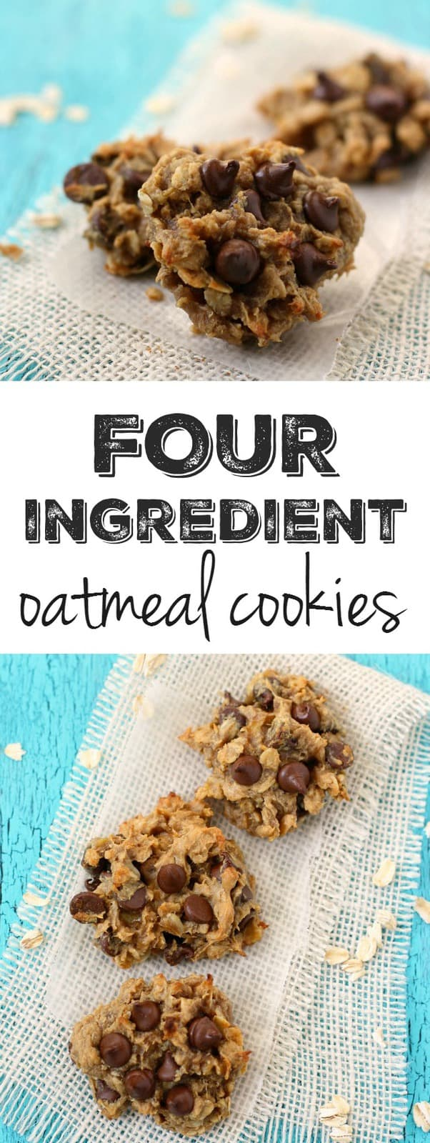 Four ingredient HEALTHY oatmeal cookies are a delicious dessert or snack! #vegan #glutenfree #dairyfree