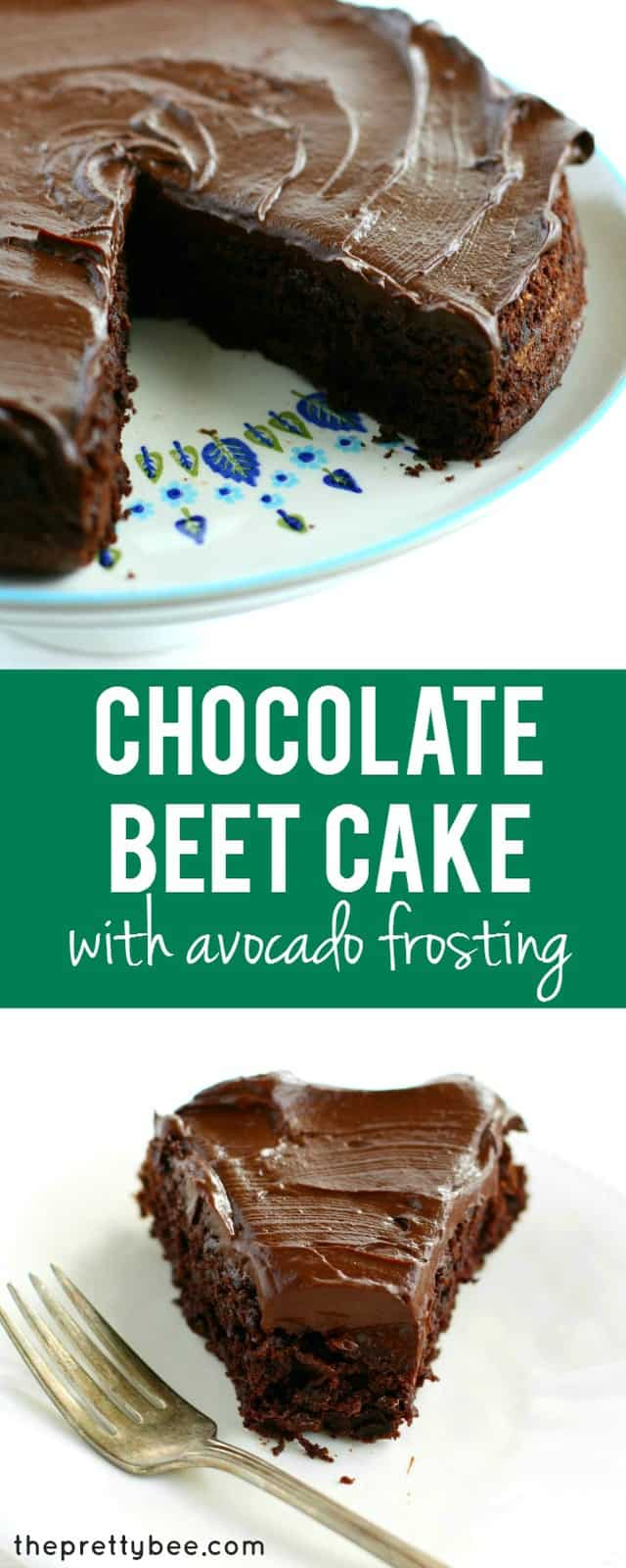 An easy recipe for chocolate beet cake with chocolate avocado frosting. It's not only incredibly delicious, it's also a healthier dessert choice!