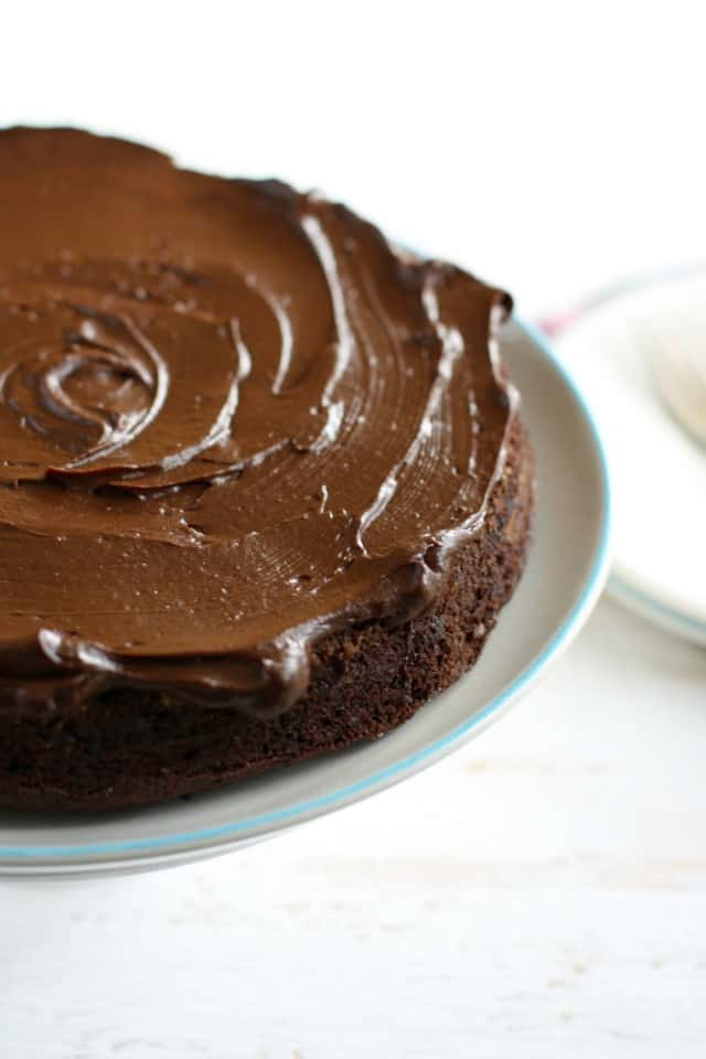Healthy chocolate beet cake with chocolate avocado frosting
