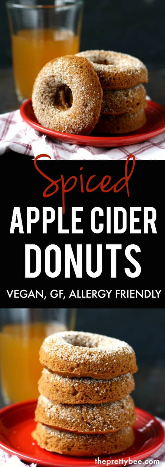 Nothing says fall like fresh baked donuts! These are extra delicious with apple cider and spices in the batter. A perfect treat for fall! Gluten free and vegan. #autumn #donuts #vegan #plantbased #gf #glutenfree #dairyfree