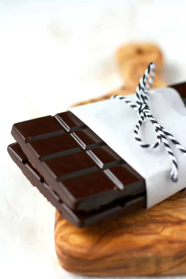 chocolate crunch bars wrapped with paper and twine