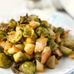 Maple Mustard Roasted Brussels Sprouts.