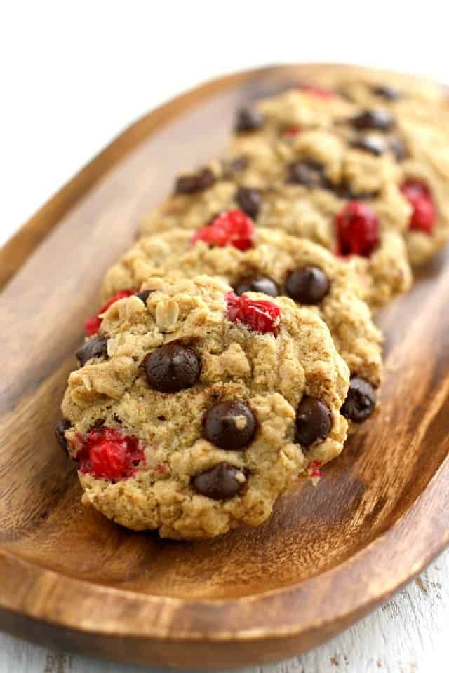 tray of chocolate chip cranberry oatmeal cookies