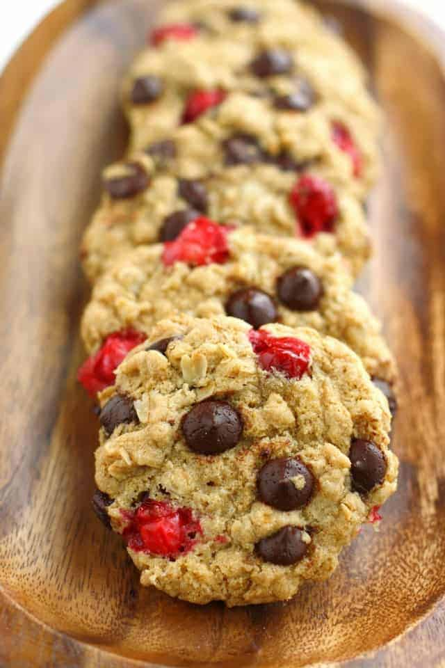 Chewy and delicious chocolate chip oatmeal cookies with cranberries