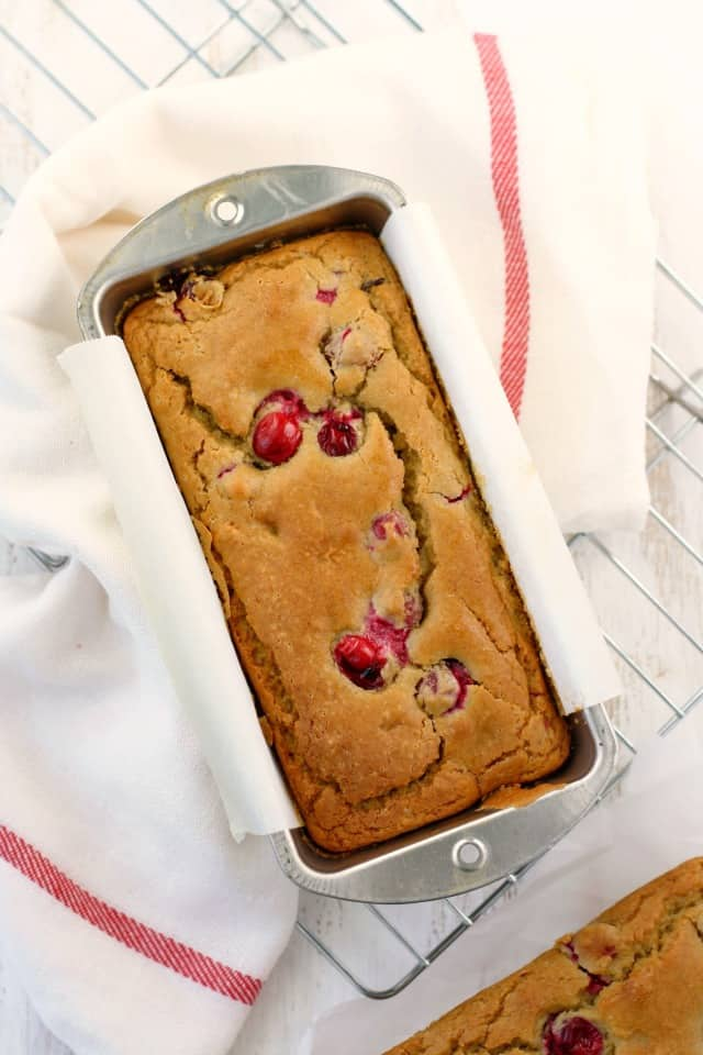 gluten free cranberry quick bread in loaf pan
