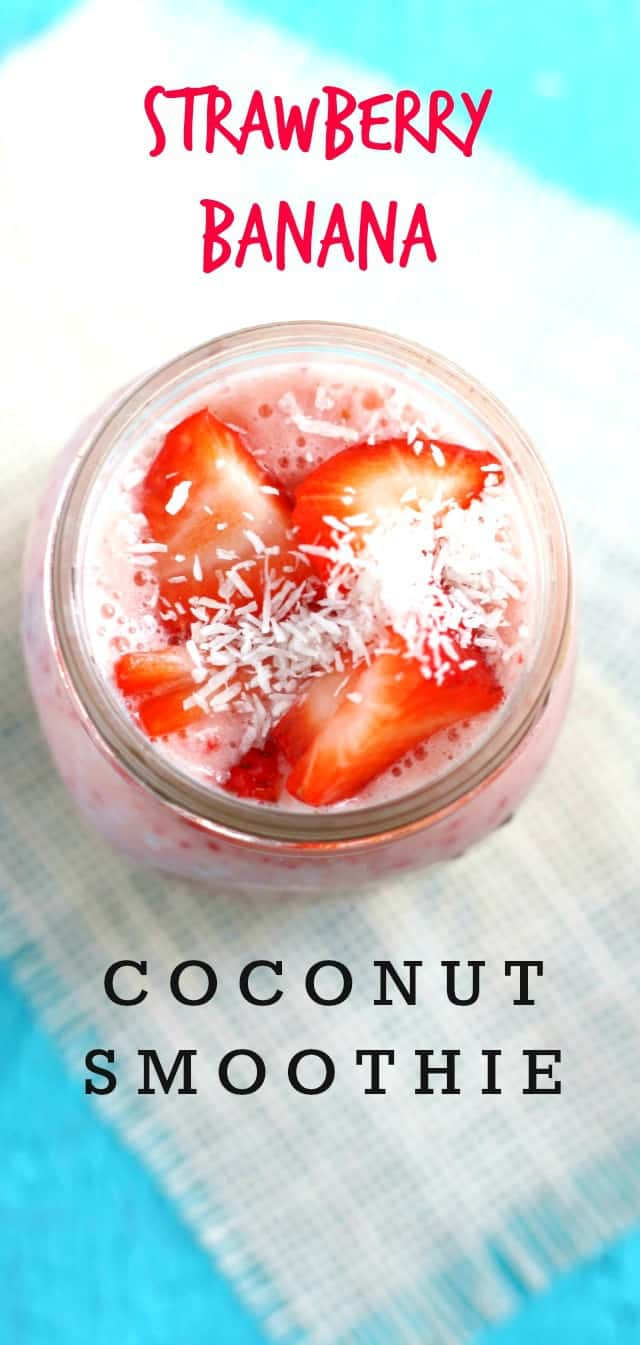 A delicious and healthy strawberry banana coconut smoothie. A tasty, dairy free way to start the day!