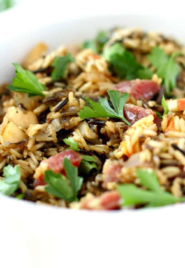 wild rice stuffing with salami