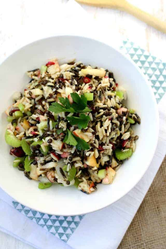 Wild Rice Lentil Salad with Apples and Cranberries. - The Pretty Bee
