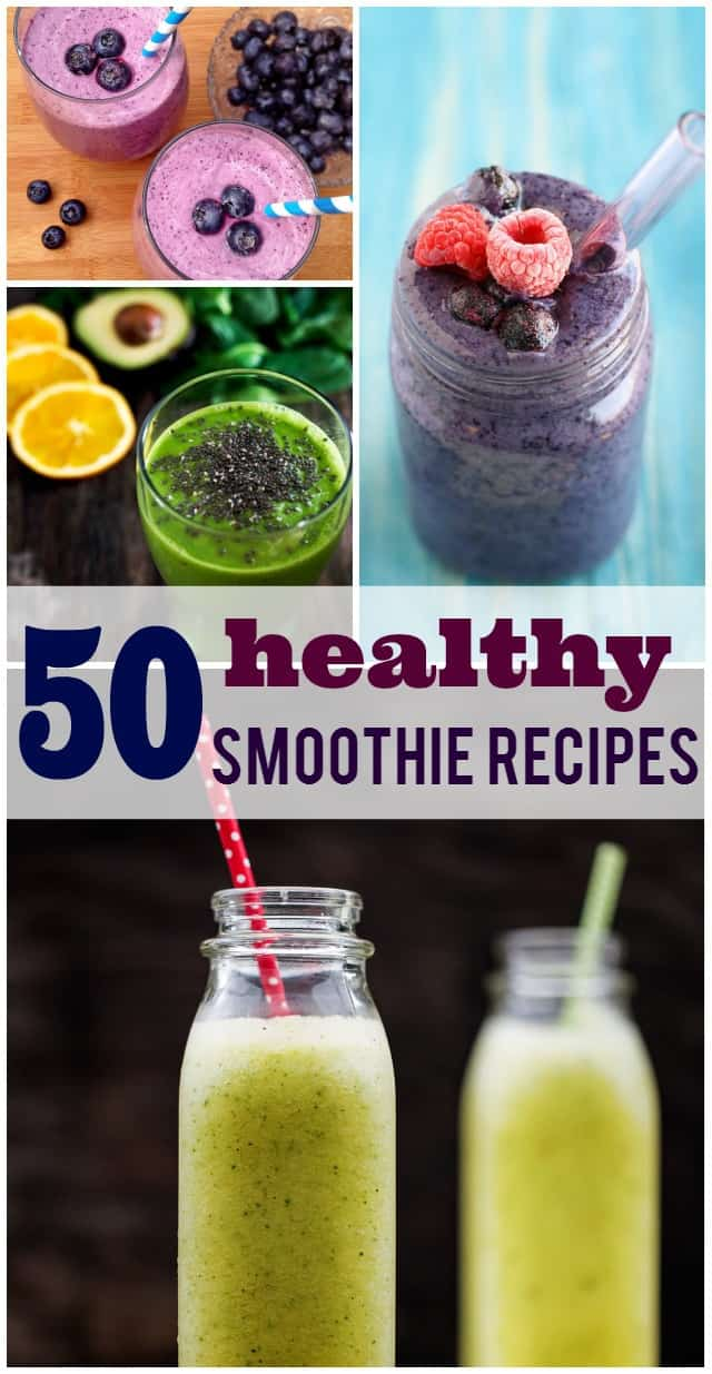 50 healthy smoothie recipes - there's something for everyone in this collection! Start your New Year out on the right foot with these healthy smoothies.
