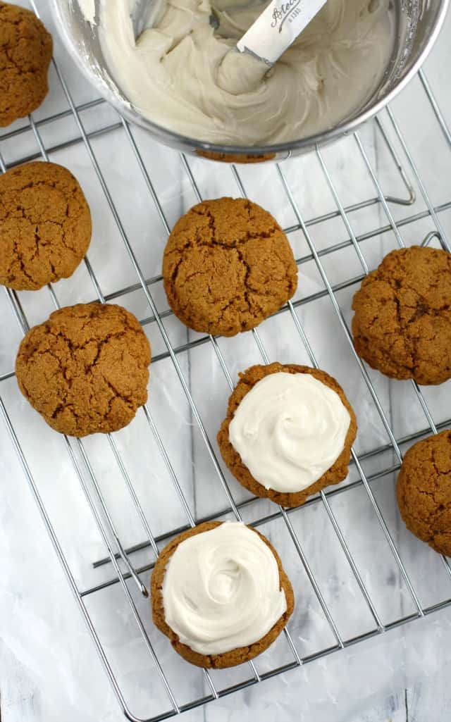 molasses cookies on a wire cooling rack