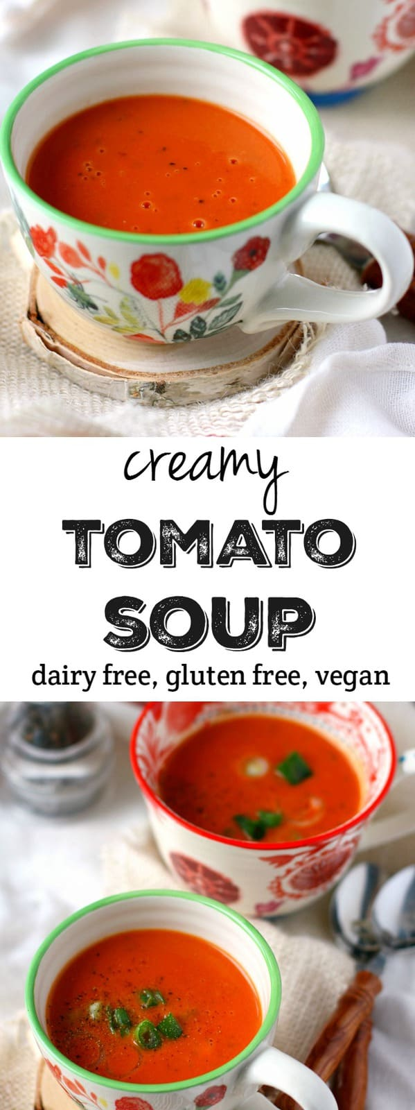 Creamy, comforting, delicious tomato soup made dairy free! This version is so much better than anything you can buy in the store! #dairyfree #vegan #glutenfree