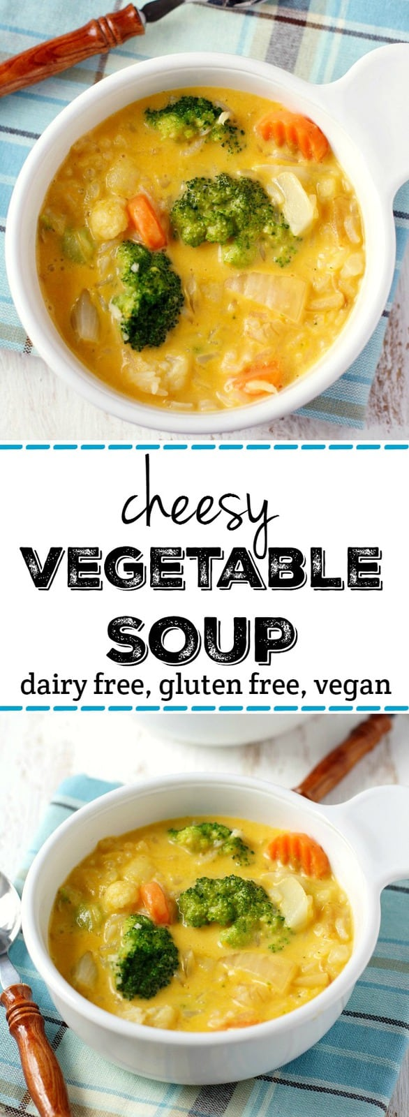 A hearty and comforting cheesy vegetable rice soup that's sure to be a hit with your family! #dairyfree #glutenfree