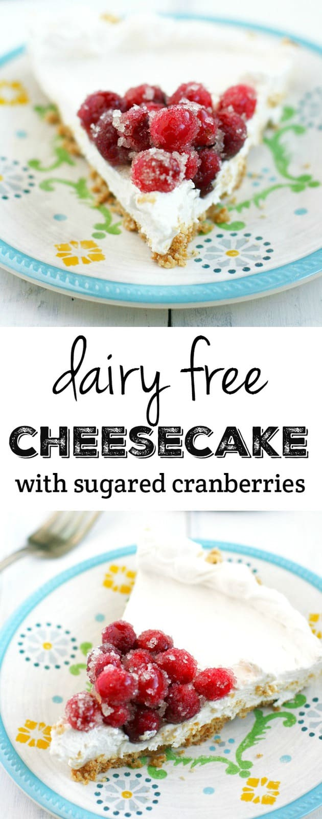 An easy recipe for dairy free cheesecake topped with sugared cranberries and finished with a shortbread crust. A fun holiday dessert! #vegan #glutenfree