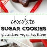 Chocolate sugar cookies are a nice change from traditional cut out cookies! Everyone loves the rich and delicious flavor of these holiday treats! Gluten free and vegan.